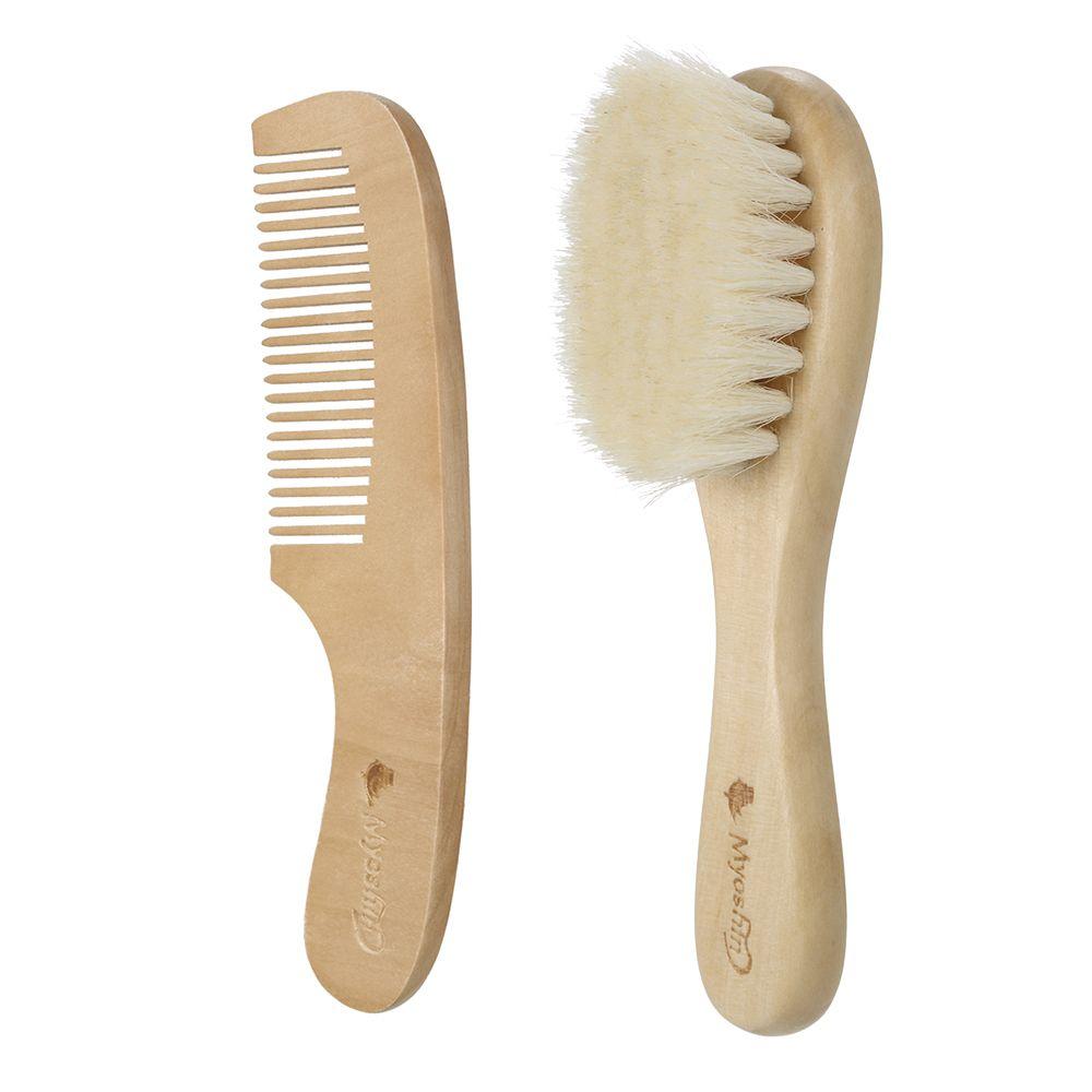 c8ca61388c761 Nuevo bebé cepillo de pelo conjunto de peine mango de madera cepillo de  bebé cepillo para el pelo recién nacido kit de cepillo para el cabello peine  ...
