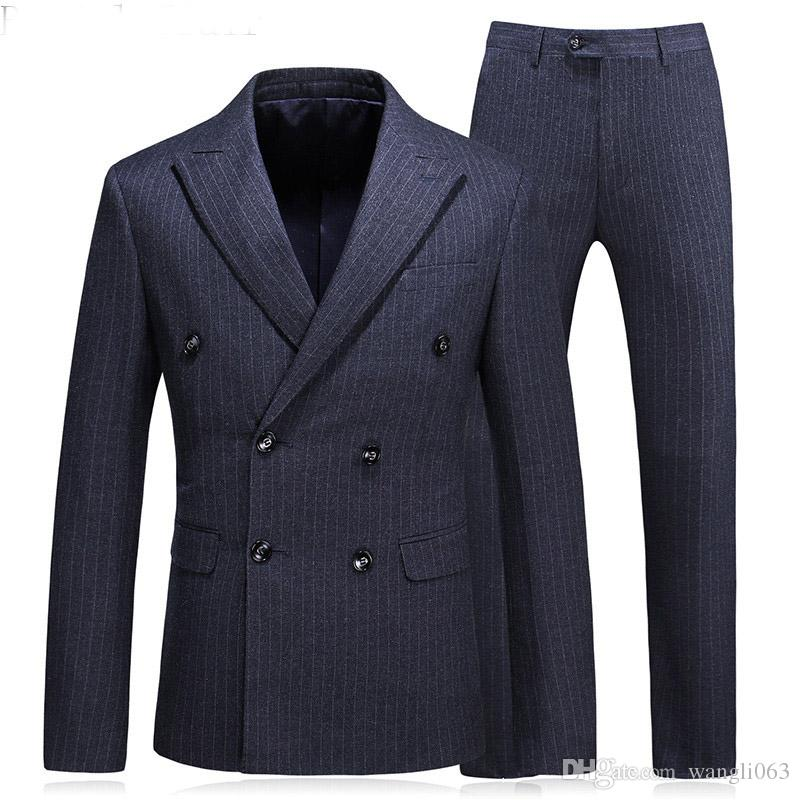 Plaid Cloth Men Suits for Business Prom Party Three Piece Jacket Pants Vest Peaked Lapel Double Breasted Wedding Groom Tuxedos