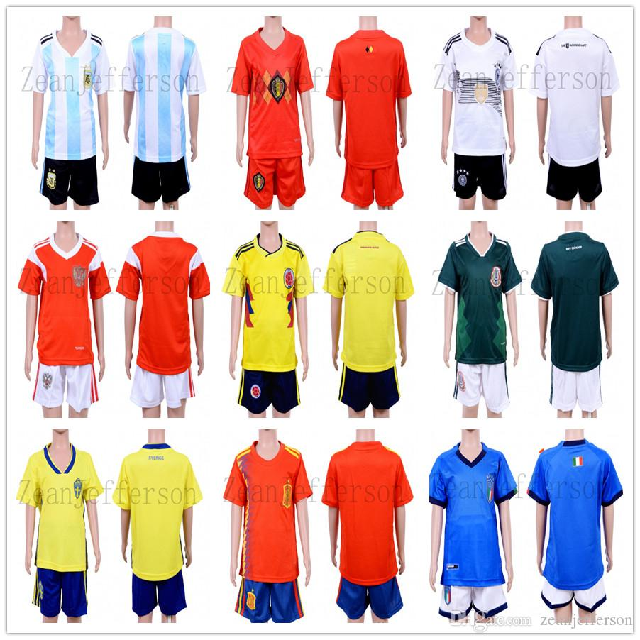 e181bf0db 2019 Custom Kid Children Soccer Jersey Kits 2018 World Cup Argentina  Belgium Germany Home Jersey Football Shirt+Short Sets Wholesale From  Zeanjefferson