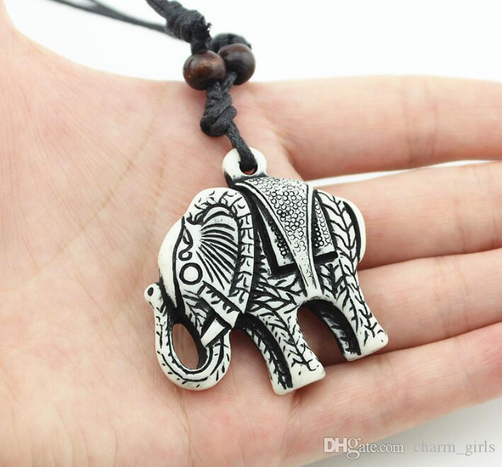 Punk wind! Fashion men Elephant Pendant Necklace Bone Carved Wooden Bead Necklace You can adjust the size of the rope Necklace