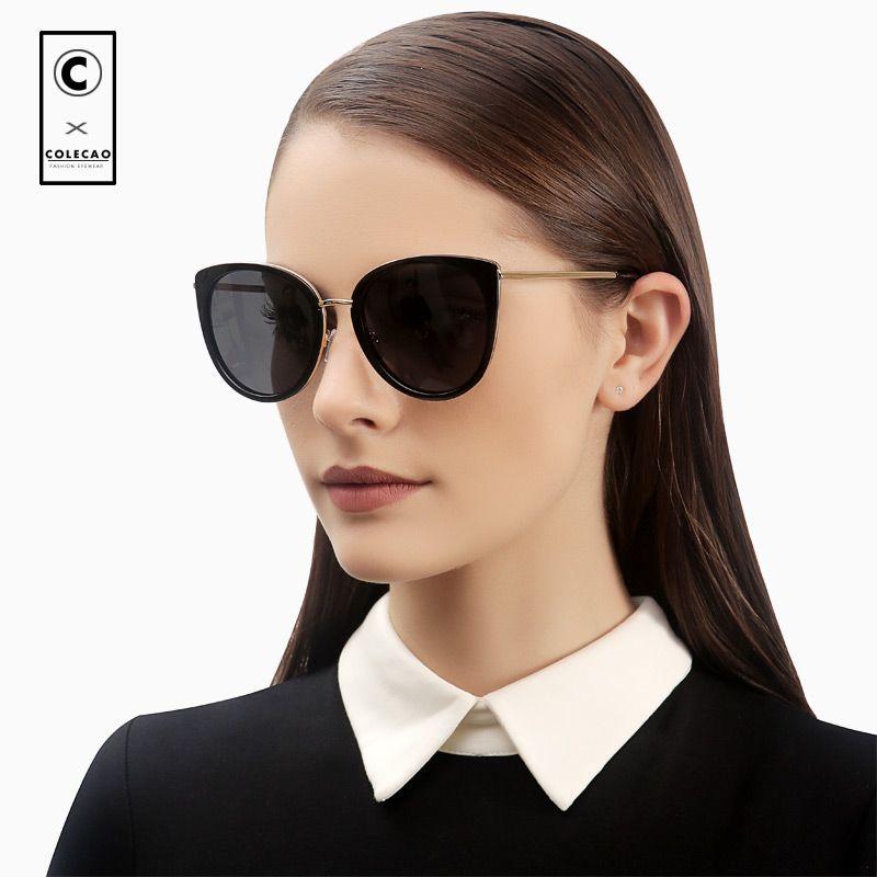 046d679d41f5 COLECAO Vintage Cat Eye Women Sunglasses Polarized Lenses Retro Blue Mirror  Luxury New Brand Driving Glasses Ladies WithCase8053 Designer Eyeglasses  Womens ...