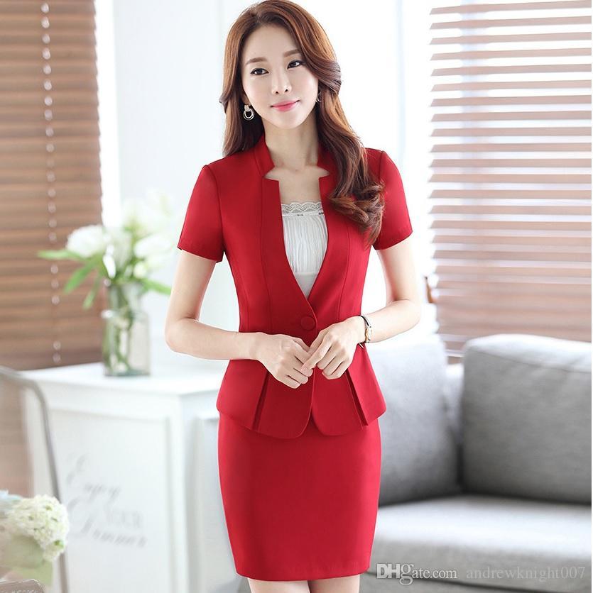 Compre las nuevas mujeres del trabajo de verano elegante traje jpg 835x836 Verano  elegantes trajes de 487b34f71d32