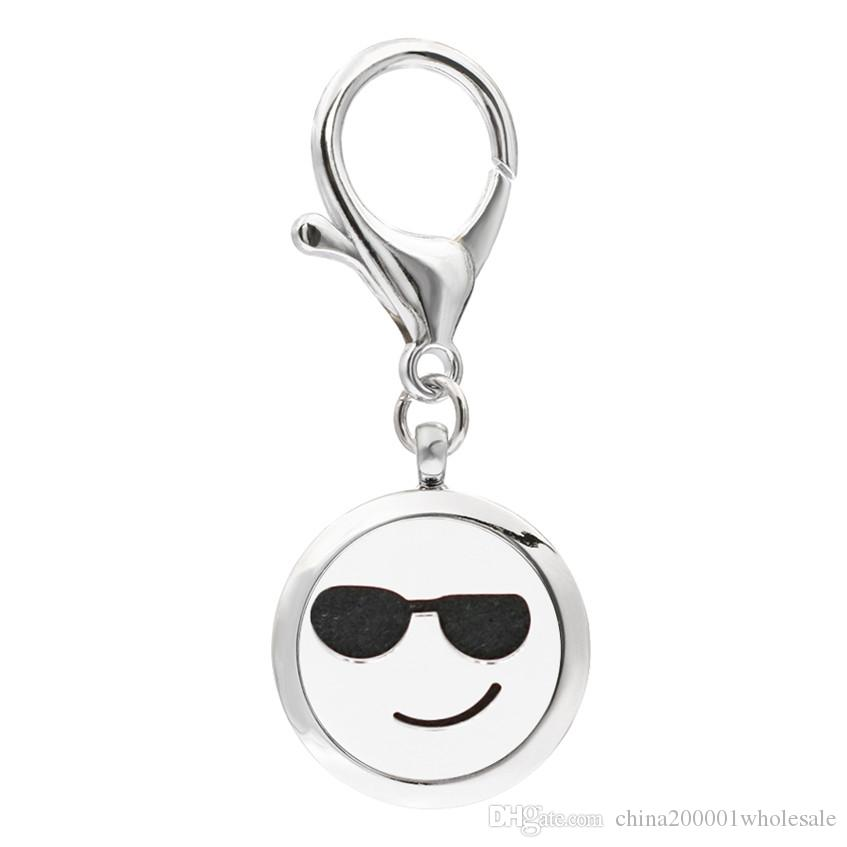 KeyChain Essential Oil Aroma Diffuser Perfume Locket with Lobster clasp Keychain keyring With free Pads KA111-KA119