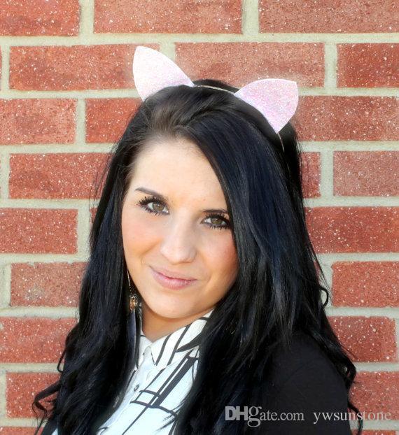 2018 New Colorful Cat Ears Headbands for Girls Kids Shine Cat Ears Hair Band for Women Hair Accessories Women Headwear