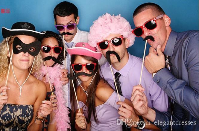 أعلى بيع 76 مجموعات من حزب الشارب النمذجة منتجات الزفاف زفاف صور الدعائم عيد يبتسم وجه رخيصة الزفاف الإحسان