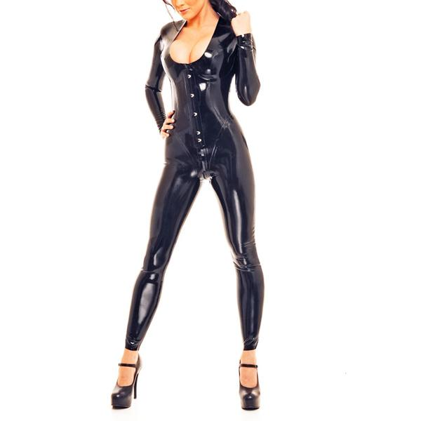 0.8MM Thickness Latex Catsuit Heavy Latex Rubber Corset Bodysuit With Cortch Zip Back Laced Up