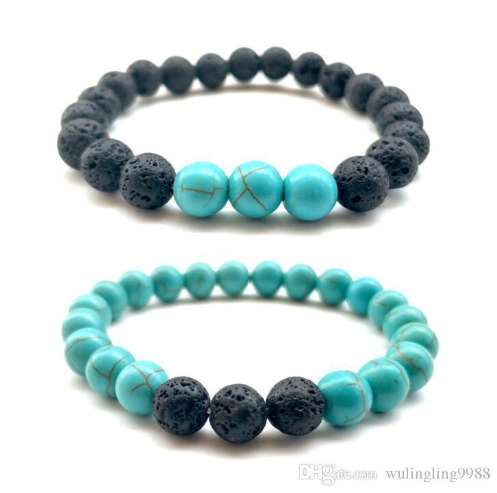 8 MM Lava Rock Perlen Armband Mode Naturstein Armband Verwitterungsstein Armreif Vulkanische Armbänder 2 Arten Türkis Armband