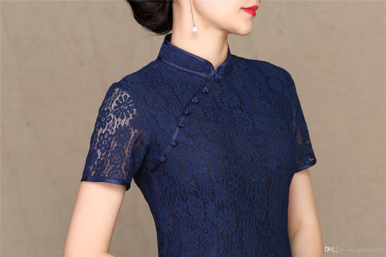 Shanghai Story 2018 robe de style chinois longueur au genou Qipao robe traditionnelle chinoise à manches courtes en dentelle robe Cheongsam pour les femmes