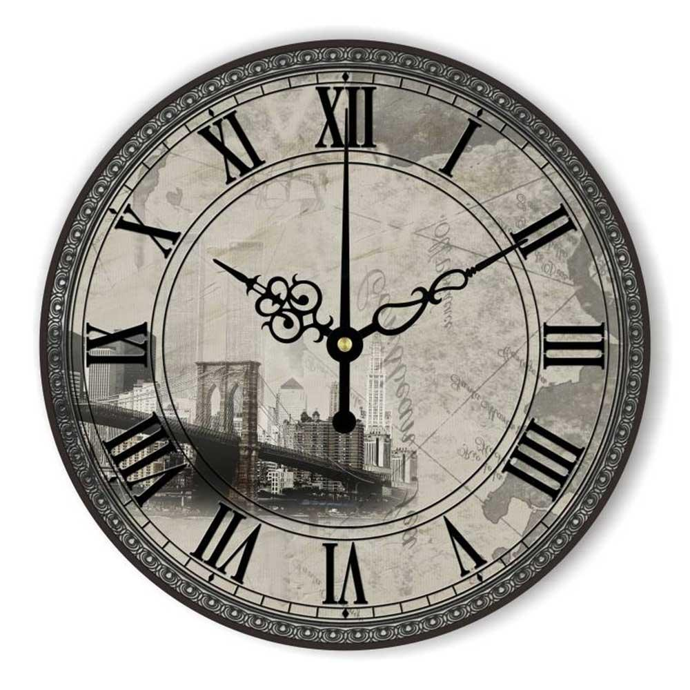 Vintage Home Decoration Wall Clock Roman Number Warranty 3 Years