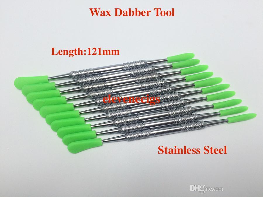 E-cigarro acessórios cera ferramenta ferramenta de aço inoxidável de aço inoxidável com tampas de silicone para show erva vaporizador caneta frigideira globo globo