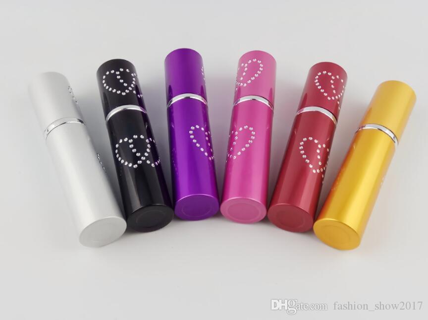 Alta calidad 5 ml encantador doble amor corazón patrón recargable botella de perfume de aluminio spray atomizador contenedor