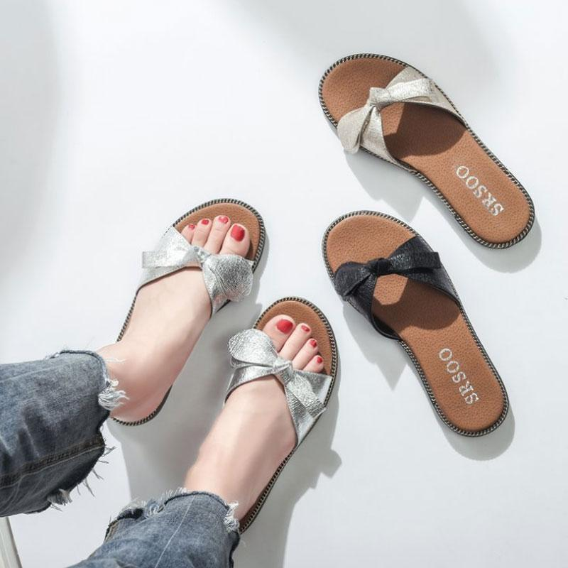 b2c4961b9181 New 2018 Women Beach Sandals Fashion Buerfly Knot Slippers Summer Women  Flat Shoes Woman Flat Sandals Flip Flop Zapatos Mujer Grey Boots Boots Shoes  From ...