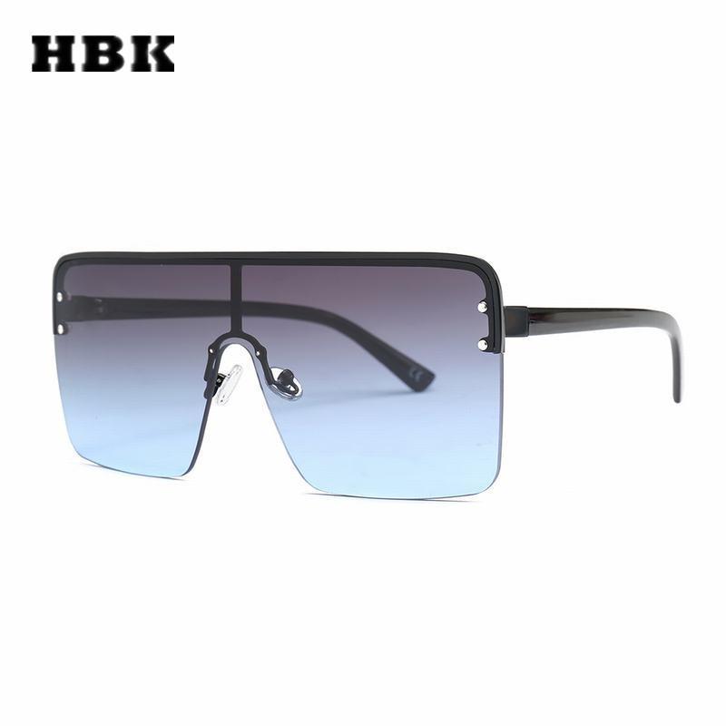 c67af48dba Compre HBK Gafas De Sol Cuadradas De Gran Tamaño Retro Semi Sin Montura  Marco Grande Mujeres Hombres Diseño 2018 Nuevas Gafas Gradient Lente Plana  UV400 A ...
