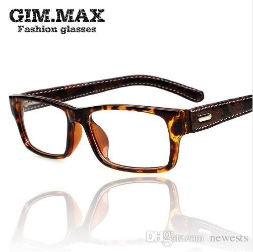 ee7ee11345c 2019 Mincl Gimmax Square Frame Glasses Vintage Black Leather Eyeglasses  Frame Myopia Plain Glass Spectacles From Newests