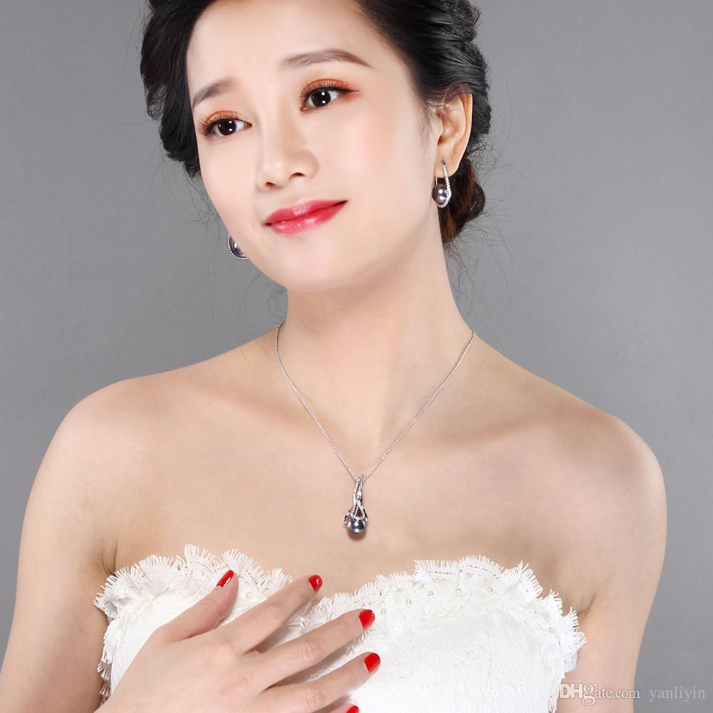 Wonderful suspension and quick delivery chain pendant necklace Grey/white pearl and crystal elegant female jewelry