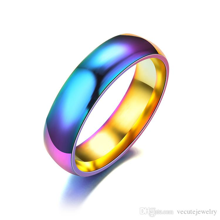 Cheap Wedding Bands.Cheap 316l Colorful Stainless Steel Band Ring For Women Men Fashion Rings Engagement Wedding Bridal Jewelry Cheap Wholesale Price