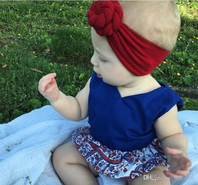 New Rose Cotton Blend Headwraps Winter Warm Turban Girls Tie Knot Headband Bandeau Bebe Gift