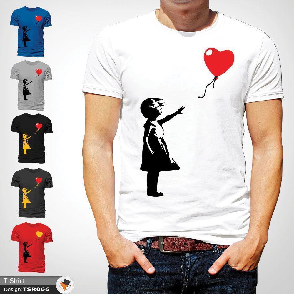 Großhandel Banksy Ballon Mädchen Druck T Shirt Unisex Baumwolle ...
