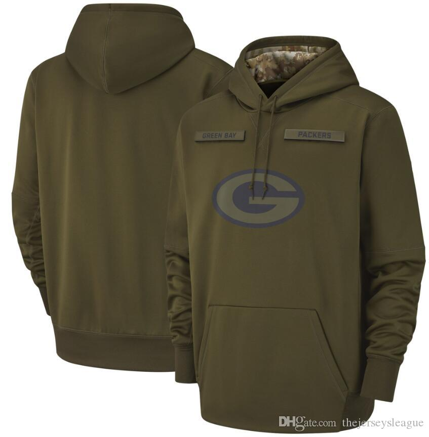 9fb7aa8f631 2019 2018 Men Green Bay Sweatshirt Packers Salute To Service Sideline  Therma Performance Pullover Hoodie Olive From Thejerseysleague