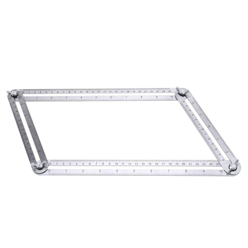 GYTB Stainless Steel Adjustable Four-Sided Folding Measuring Tool  Multi-Angle Template Scale Ruler