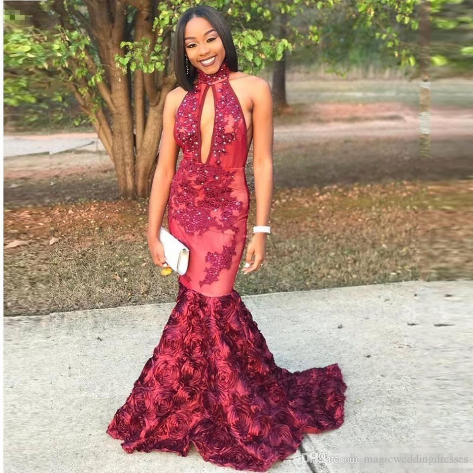 2018 Sexy High Collar Keyhole Front Prom Dresses Dark Red Mermaid Floral Flowers Bead Sequin For Black Girl Evening Special Occasion Gowns
