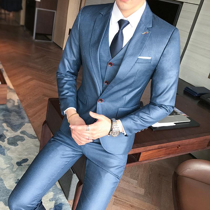 Acheter Hommes Costumes Grandes Tailles Quatre Saisons Costume Homme Hommes  Trois Pièces Costume Manteau Hommes Slim Fit Blazer De Mariage Pour Jeunes  ... 5154ed802849