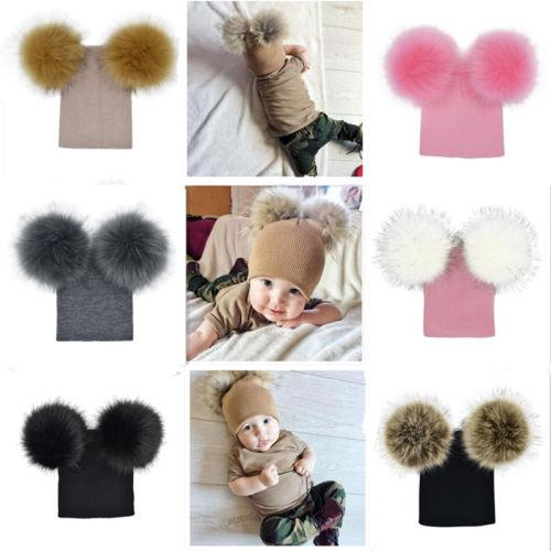 0e0adffcdc5 Kid Baby Winter Fur Ball Knit Hat Kids Warm Double Fur Pom Poms Hat ...