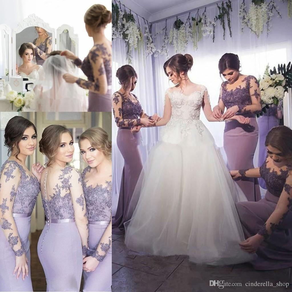 Lavender Mermaid Lace Bridesmaid Dresses 2019 Long Sleeve Appliques Beaded Illusion Bodice Sweep Train Wedding Guest Formal Party Prom Gowns