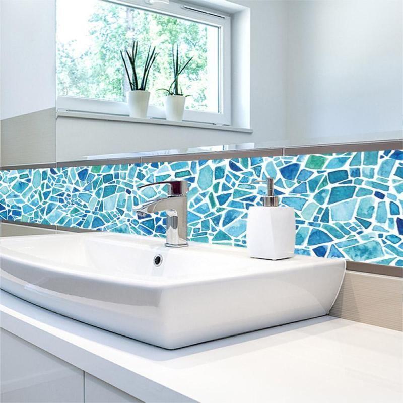 5pcs / set PVC imperméable sticker mural salle de bains auto-adhésif papier  peint cuisine mosaïque carrelage autocollants pour murs Decal Home ...