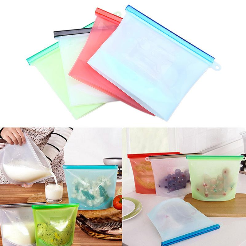 Reusable Vacuum Silicone Food Bag Sealer Milk Fruit Meat Storage