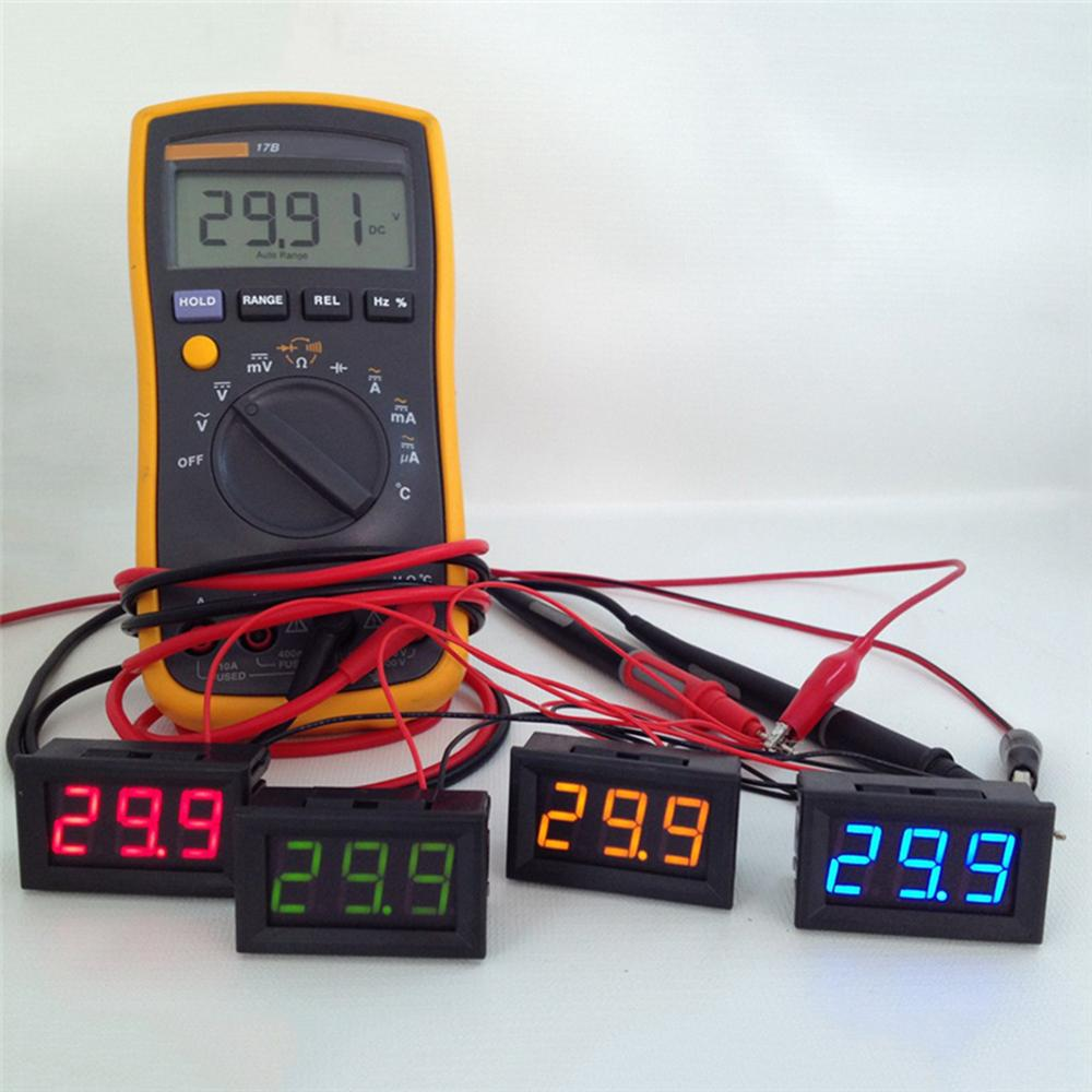 2 Wire Mini LED Digital Display Voltmeter DC 2.5-30V Battery Tester LED Amp Digital Volt Meter Gauge Diagnostic Tools AAA291