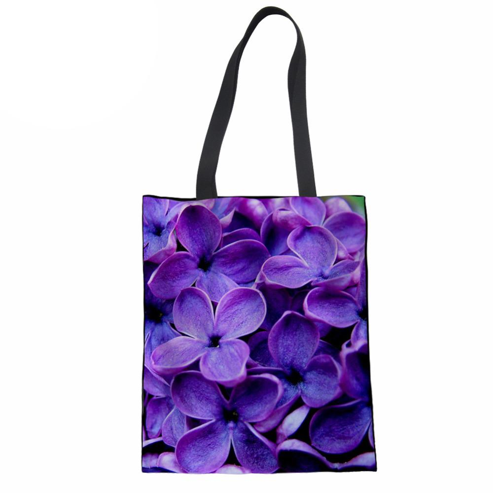 1ea52397d832 Shopping Bag Cotton Tote for Women Purple Lilac Print Reusable Eco ...