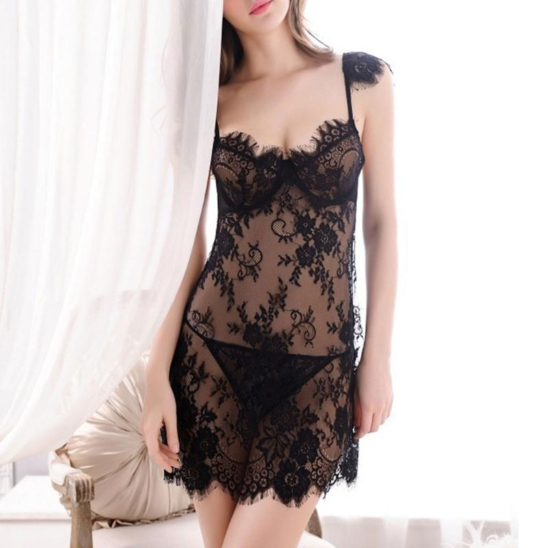236c065228 2019 Women Sheer Eyelash Lace Trim Peacock Sleepwear Nightdress Babydoll  Lingerie New From Odelettu