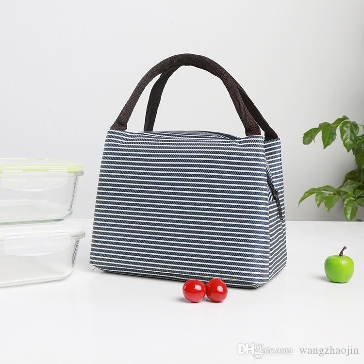 Fashion Stripe Insulation Pack Lunch Box Pack Thicken Ice Pack Multifunction Striped Waterproof Picnic Lunch Box Bag