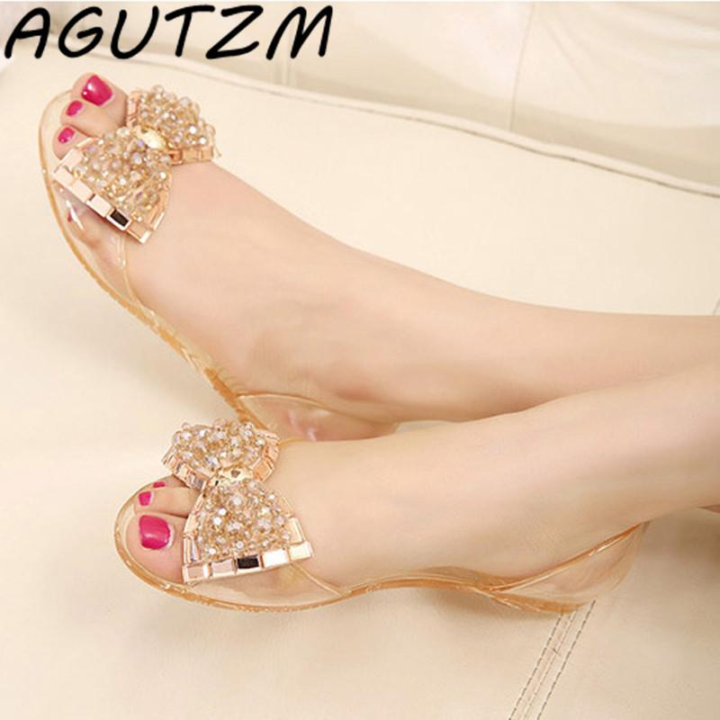 5b1c5af92086 AGUTZM Women Sandals Summer Style Bling Bowtie Jelly Shoes Woman Casual Peep  Toe Sandal Crystal Flat Shoes Size 35 40 Cute Shoes Leather Sandals From ...
