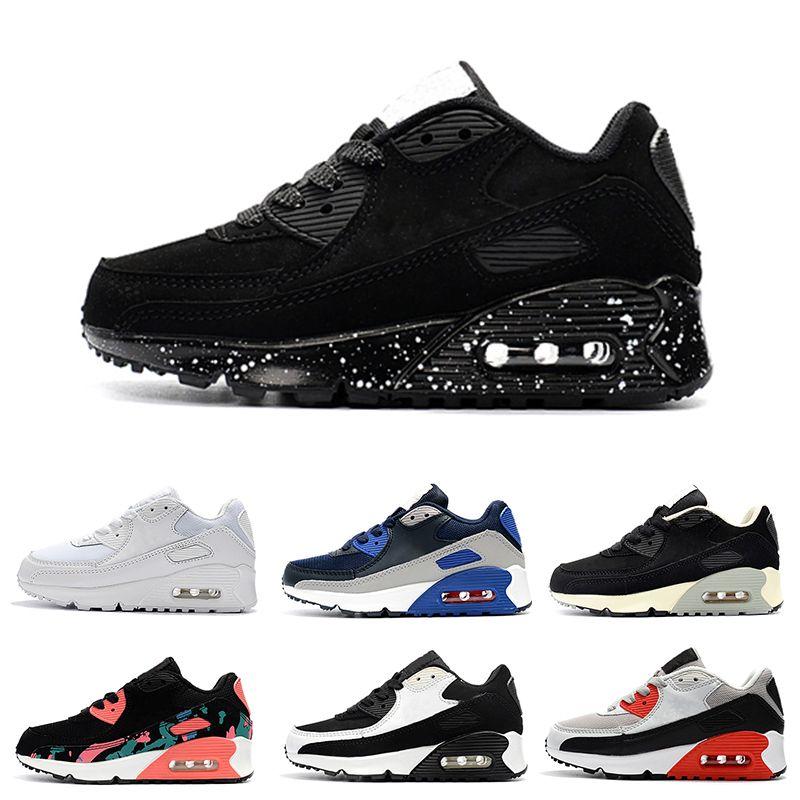 online store 120af 7d79d Acquista Nike Air Max 90 Sneakers Classic 90 Boy Girl Bambini Bambini Scarpe  Da Corsa Nero Rosso Sport Trainer Air Cushion Superficie Traspirante Scarpe  ...