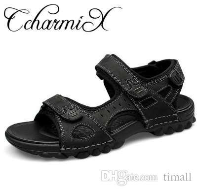 Genuino Sandalias Verano Zapatos Grande Al Ccharmix Tamaño Aire De Playa Moda Cuero Vestido Para 48 Hombre CrdthsQ