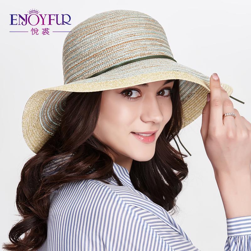 24aaf3281d97b Enjoyfur Summer Straw Sun Hat For Women Starw Beach Cap Large Wide Brim Sun  Hats Sunscreen Sun Hats For Girls Cloche Hat Cool Hats From Factory top