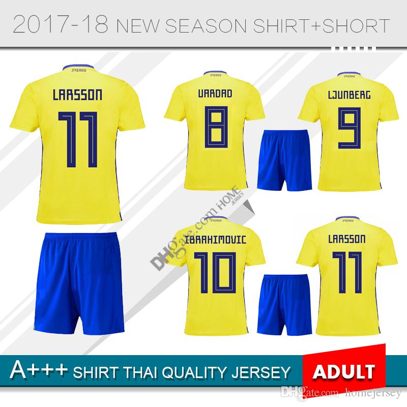 3d0c0b433 Adult Sweden Soccer Jersey IBRAHIMOVIC LJUNGBERG Top Thai Quality ...
