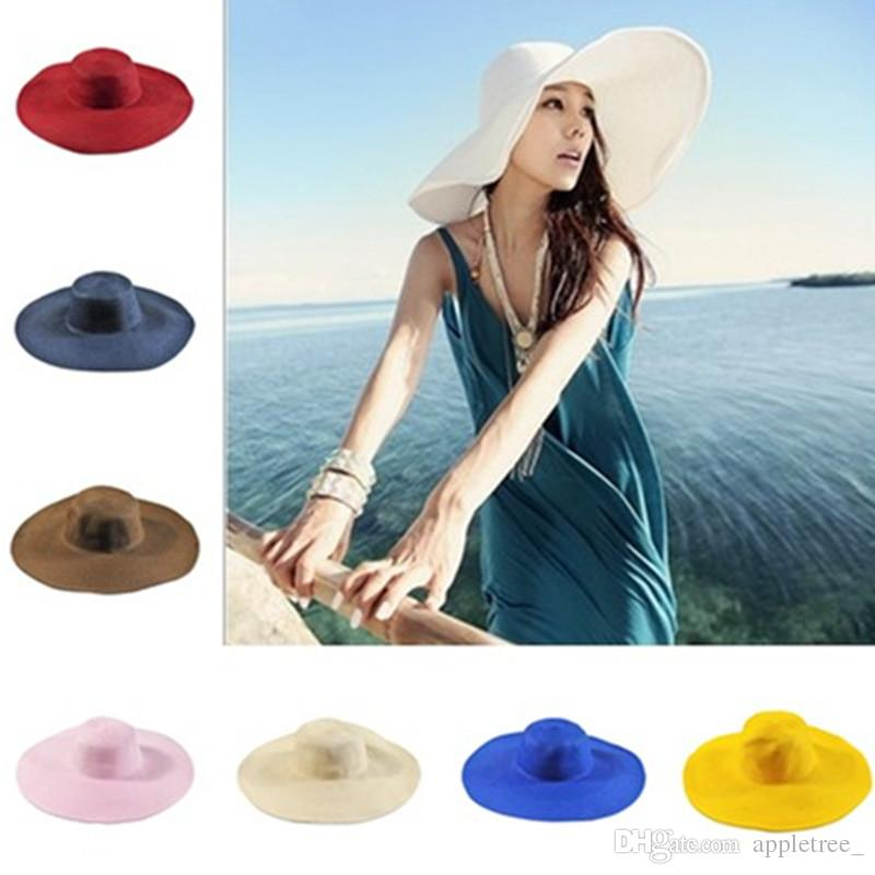 adfb38d7aa8 Fashion Summer Women Sun Hat Cap Ladies Wide Brim Straw Hats Outdoor  Foldable Beach Panama Church Hat Wholesale 2018 Flat Brim Hats Mens Straw  Hats From ...