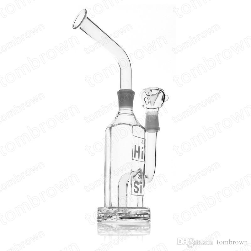 Hi Si Glass Hex Stemless Bubbler Removable Mouthpiece 11 inches Tall Rocking a 18.8mm Joint