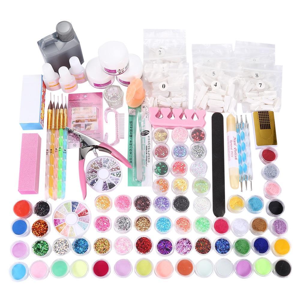 Manicure Set Diy Nail Buffer Acrylic Glitter Powder Pen For Crystal ...