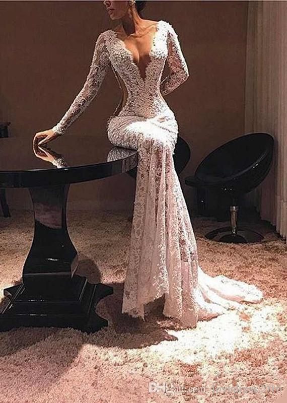 2019 Deep V Neck Prom Dresses Long Sleeves Lace Mermiad Formal Dresses Evening Sexy Cutway Sides Cocktail Party Gowns