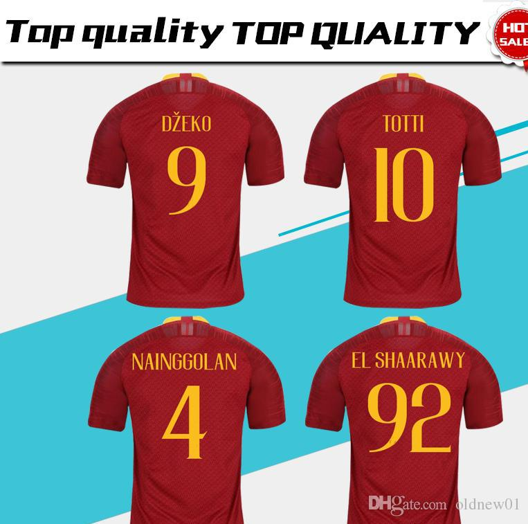 2018 19 Top Quality Roma  10 TOTTI Football Shirts Home Red Strootman  Soccer Jersey DZEKO EL SHAARAWY Nainggolan Football Uniform Sales UK 2019  From ... 5d92d9fcf