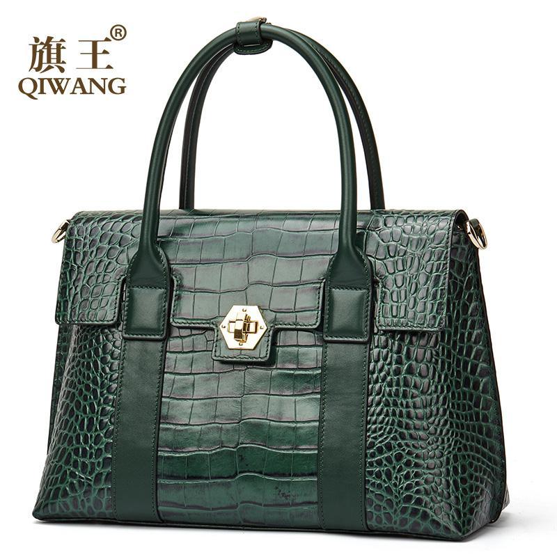 b604a46f43 Acquista Qiwang Borsa Di Marca Di Lusso Donne Grande Blocco Verde Tote Bag  Femminile Di Alta Qualità In Vera Pelle Tote Bag Moda Top Handle A $250.61  Dal ...