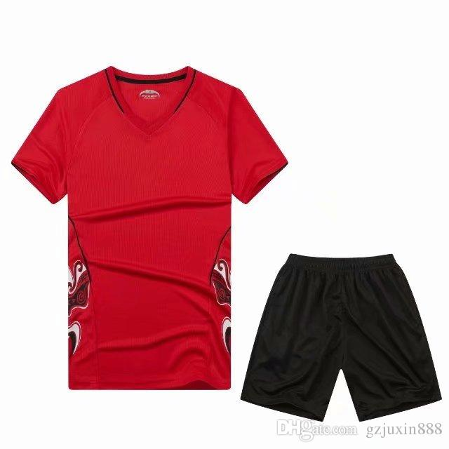c60acbf3a1c 2019 2018 Superior Quality Red Color Patchwork DIY Men Soccer Sets Of  Soccer Jersey   Shorts Male Football Kit Pockets Pattern Uniform.