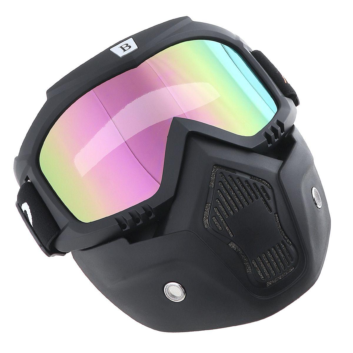 Abnehmbare Motorradbrille Brille Maske Visier Ski Snowboard Unterstützung Open Face Motorrad Half Helm für Motorrad MBA_702