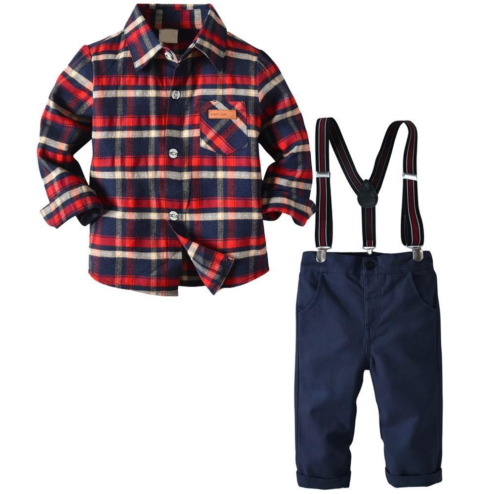 1902fb00d 2019 Toddler Baby Clothes Set Kids Boys Gentleman Stripe Top Long ...