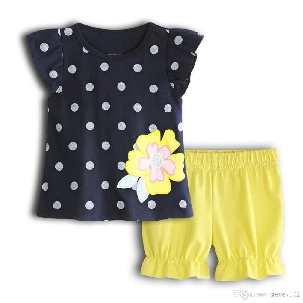 587b0b9fd33d0 Acheter Fleur Dot Bébé Fille Vêtements Ensemble Coton Enfants Vêtements  Costume Filles T Shirt Pantalons Culottes Nouveau Né Tenues Summer Tops  Combinaisons ...