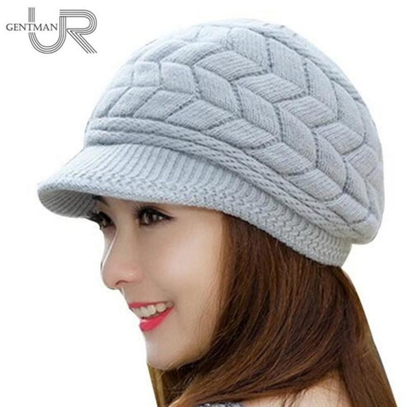 New Women Winter Hat Warm Beanies Fleece Inside Knitted Hats For Woman Rabbit Fur Cap Autumn And Winter Ladies Fashion Hat Y18110503